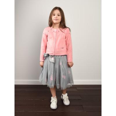 Летняя куртка для девочки из искусственной замши.