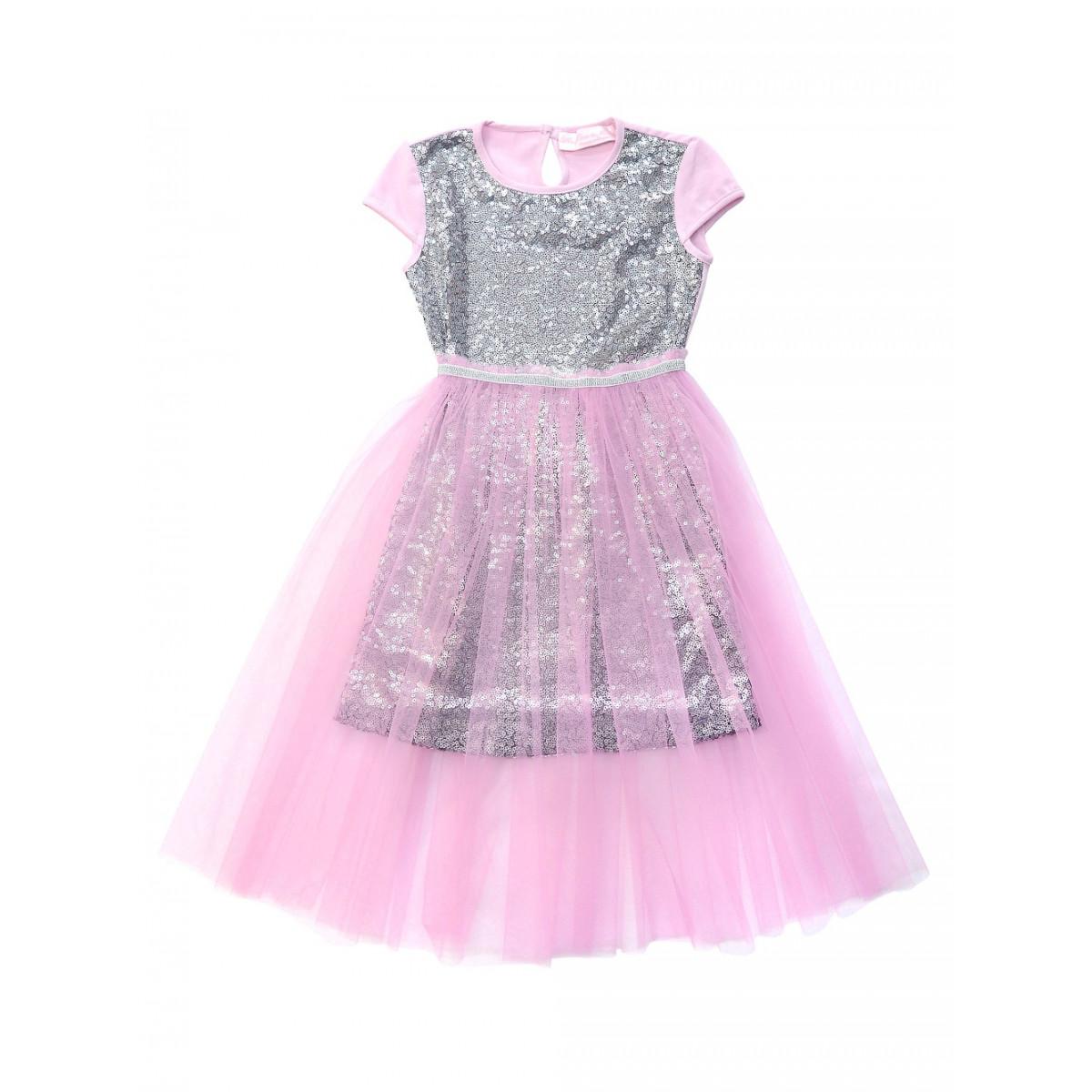 Комплект: платье с пайетками и пышной розовой юбкой.