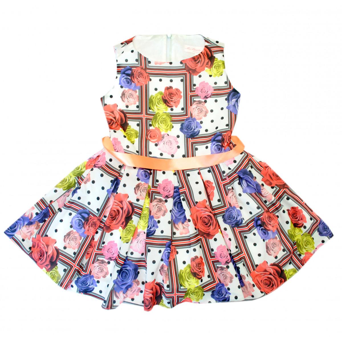 Платье в клетку с цветами.