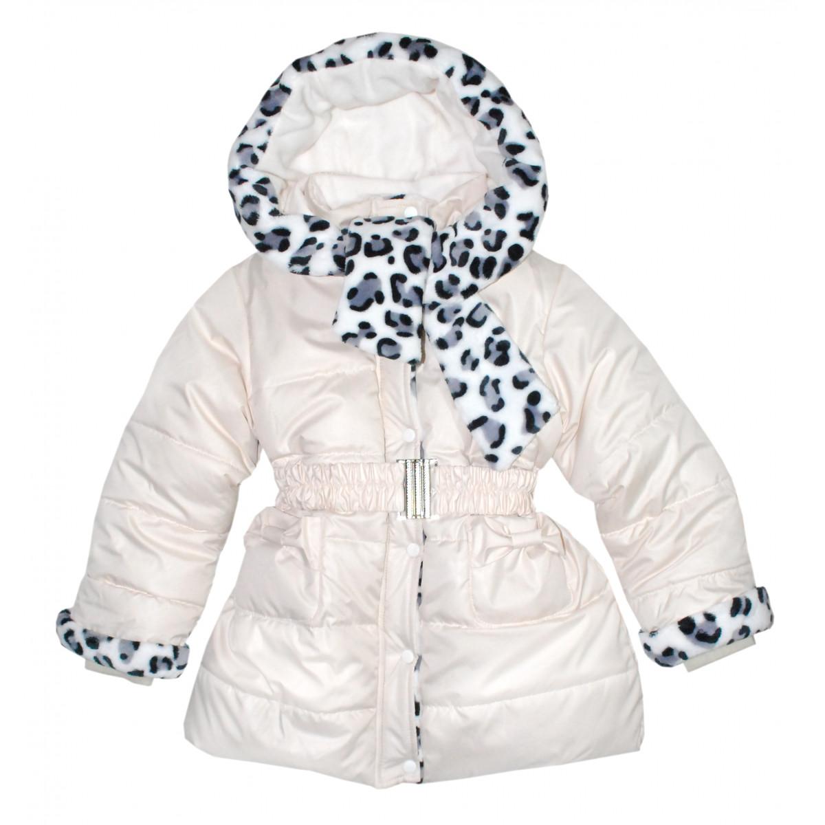 Зимнее утепленное пальто бежевое на маленьких девочек.