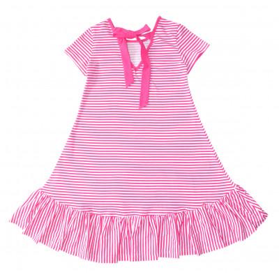 Платье в полоску,розовое.