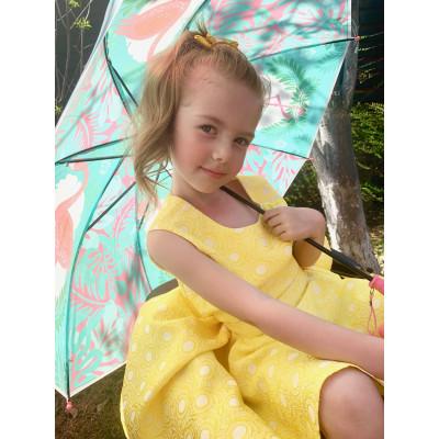 Платье жёлтое с бантом.