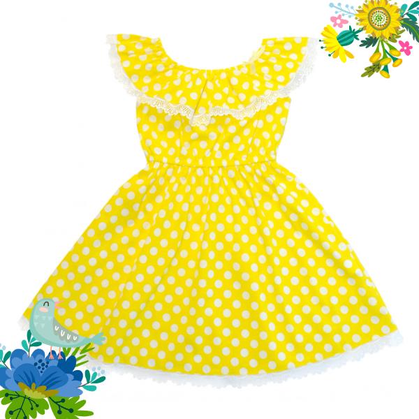 Платье жёлтое в горошек.