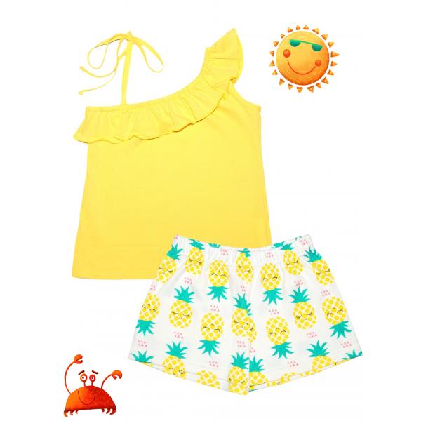 """Яркий комплект для девочки с воланом """"Жёлтый ананас""""."""