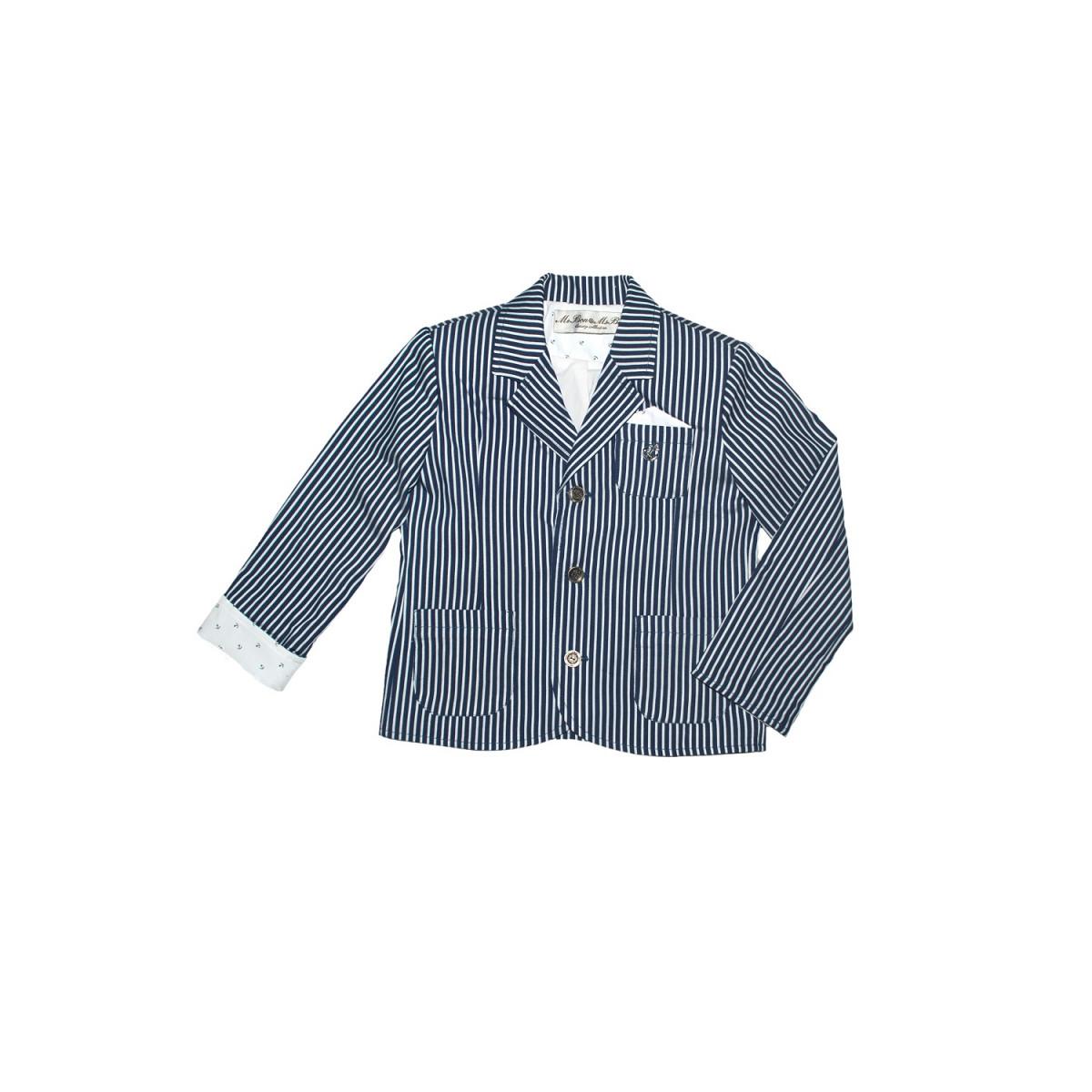 Пиджак для мальчика в полоску.