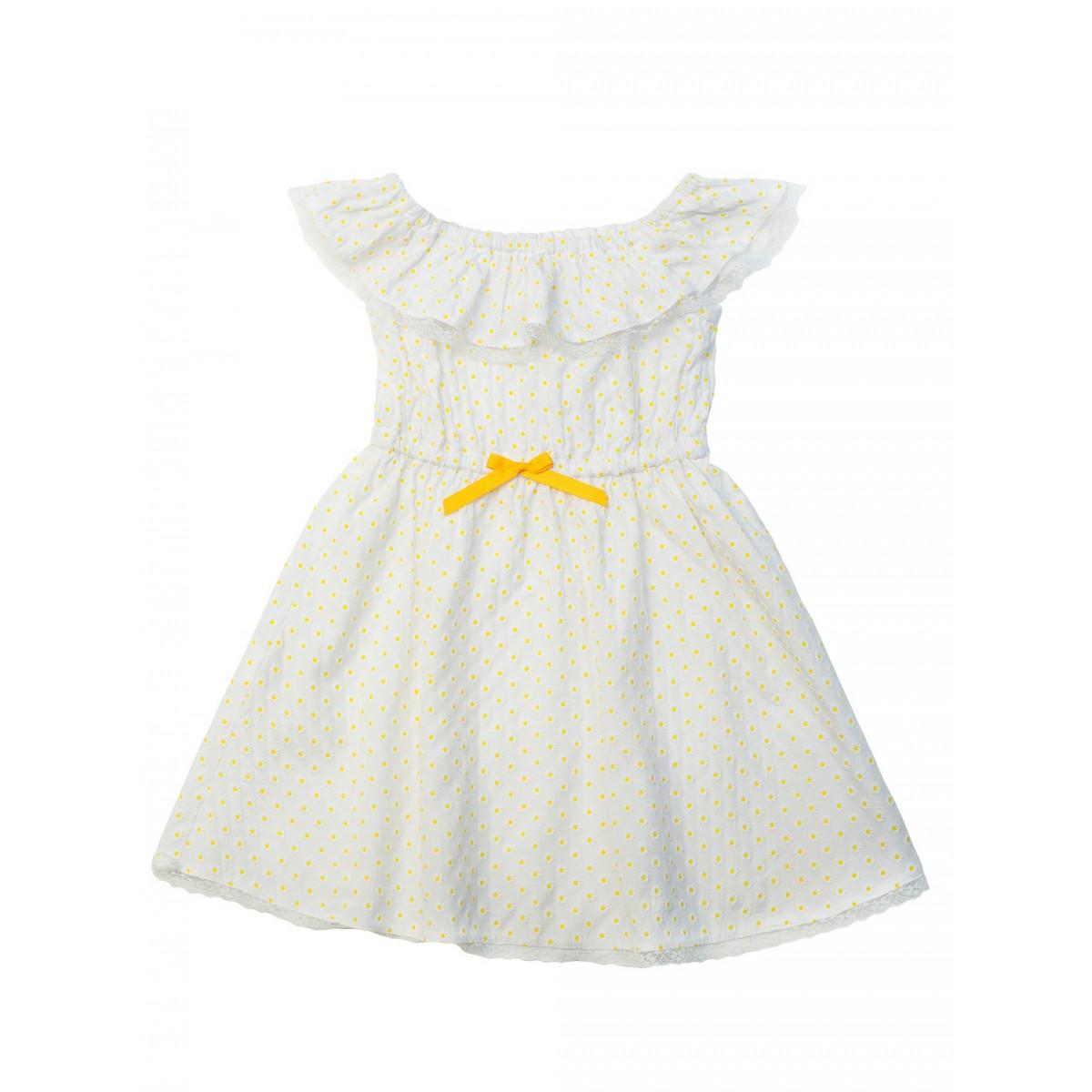 Платье в жёлтый горошек.