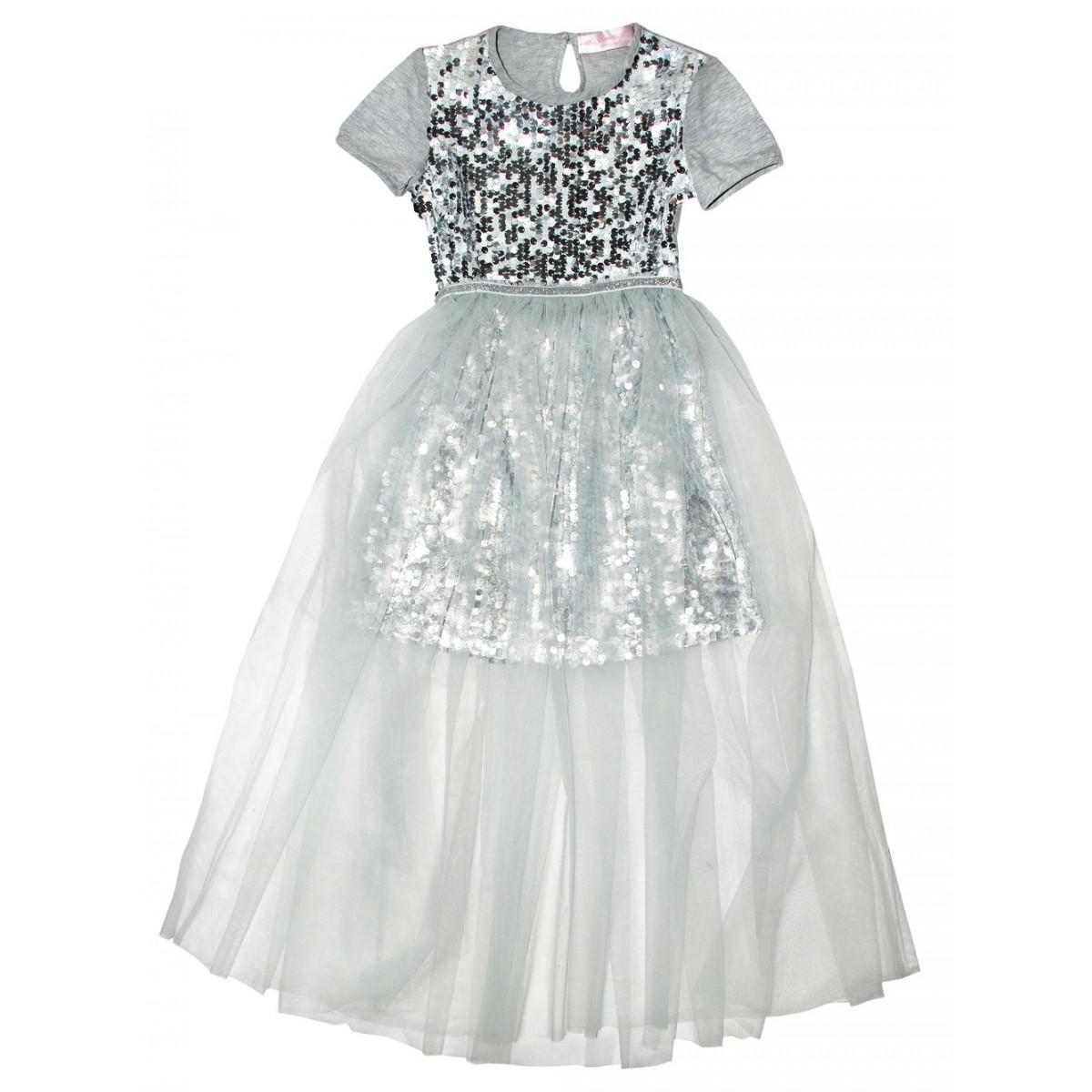 Комплект для девочки (Платье с пайетками + юбка-сетка)