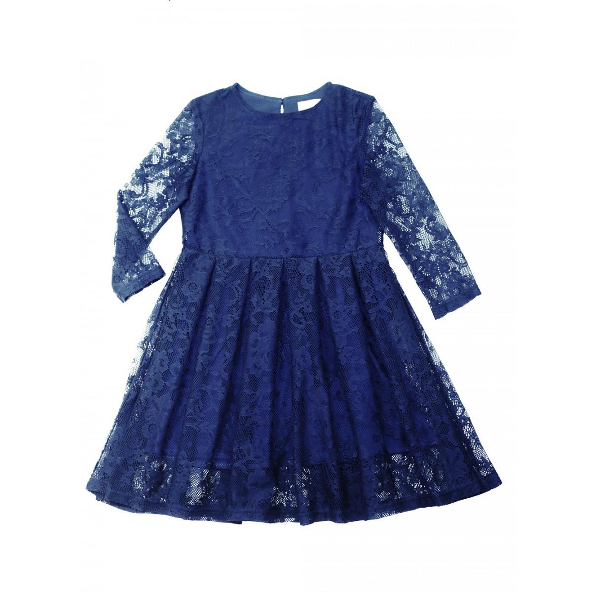 Платье для девочки синее с гипюром.