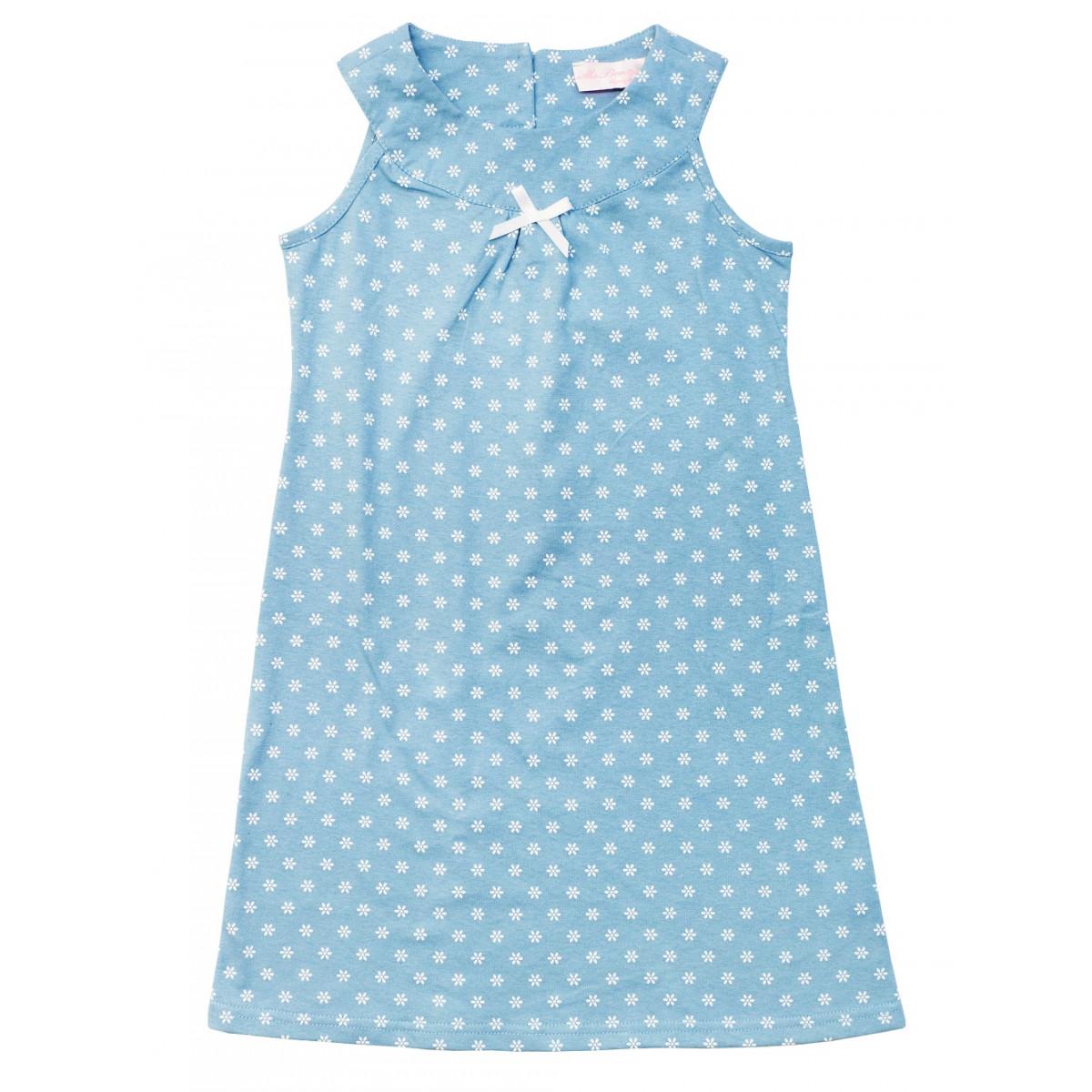 Платье голубое в цветочек.