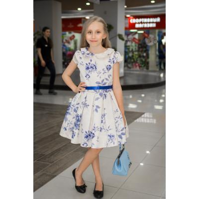 """Платье """"Гжель"""" голубые цветы."""