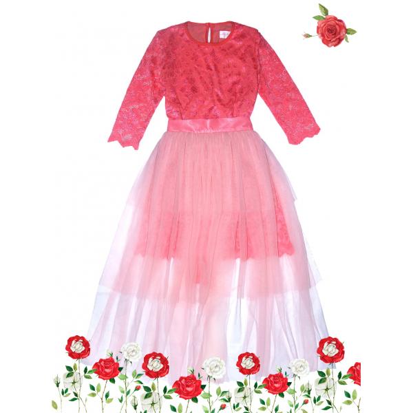 Гипюровое платье со съёмной пышной юбкой.